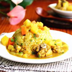 干豌豆怎么吃好吃咖喱鸡块盖浇饭的做法