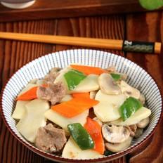 鲜笋蘑菇炒肉片