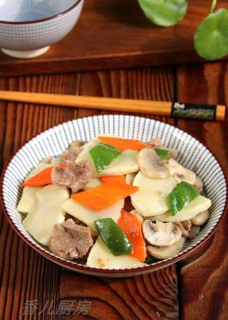鲜笋蘑菇炒肉片的做法