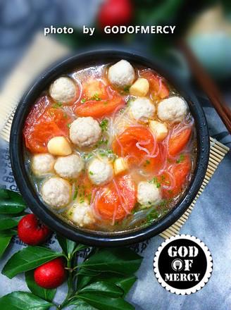 番茄鸡脯肉圆子汤的做法