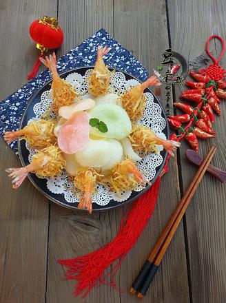 金丝沙拉凤尾虾的做法