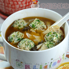 團團圓圓菌油香菜丸子腐衣湯
