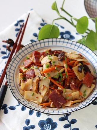 金华火腿炒双菇的做法