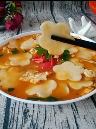 小柿子鸡蛋面片汤的做法