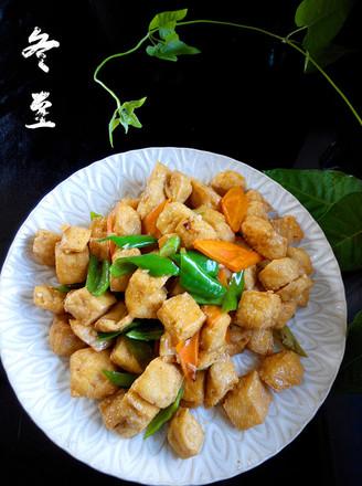 尖椒豆腐泡的做法