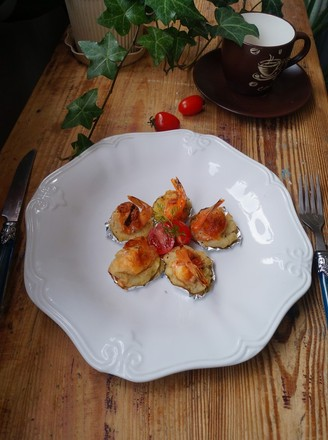 土豆饼焗芝士大虾的做法
