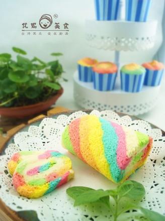 梦幻彩虹蛋糕卷的做法