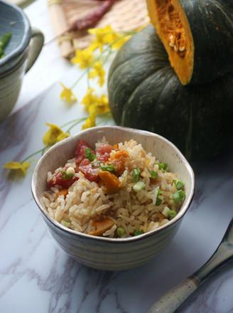 广式腊肠干贝南瓜焖饭的做法