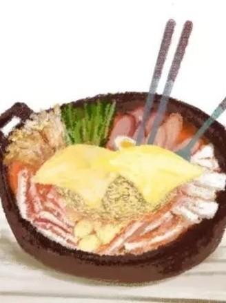 手繪食譜:韓式部隊鍋 宋仲基的泡面梗不僅僅是撩妹哦~的做法