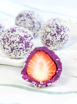 椰蓉紫薯草莓球的做法