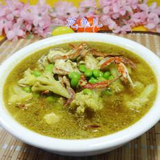 毛豆花菜螃蟹湯