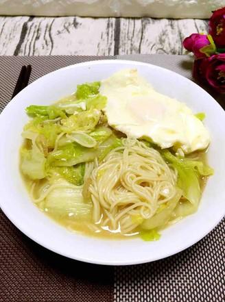 白菜鸡蛋汤面的做法