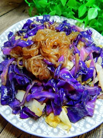 紫包菜炒粉条的做法