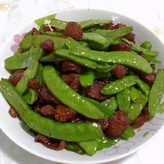荷蘭豆炒臘腸