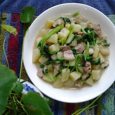 咸肉土豆炒雞毛菜