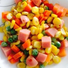 胡萝卜豌豆玉米炒火腿