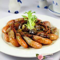 干煸蘑菇北极虾