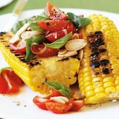 烤玉米&西红柿杏仁沙拉