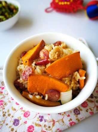 腊肠南瓜焖饭的做法