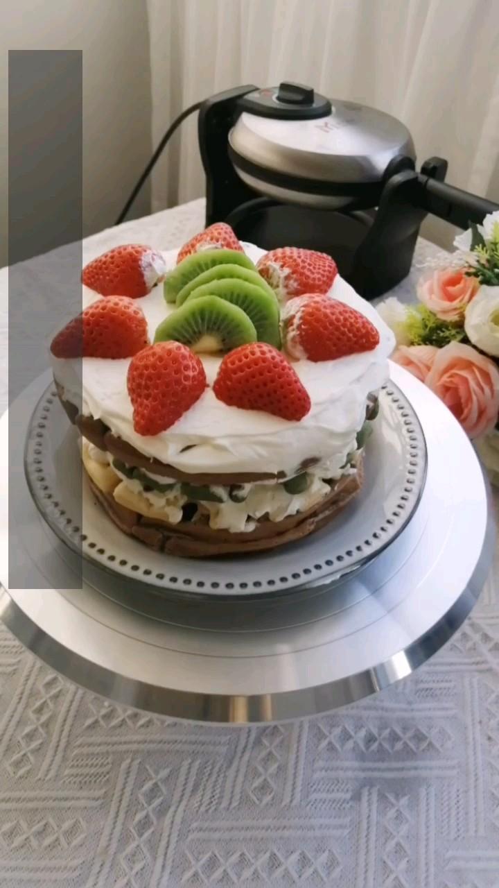 彩虹华夫饼裸蛋糕