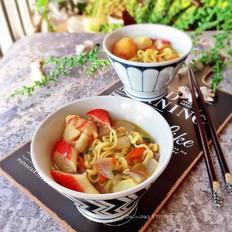 咖喱鱼丸浓汤面#中卓牛骨汤面#