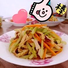 西芹香干胡萝卜炒鸡排