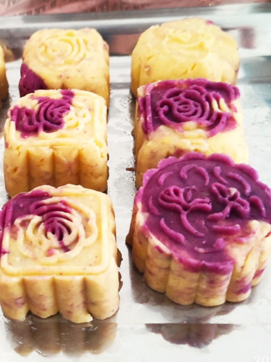紫薯绿豆糕