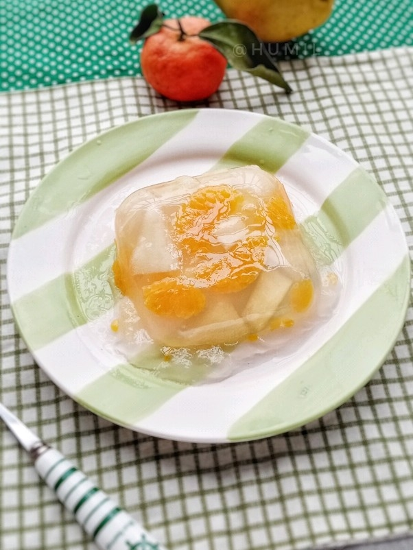 自制杂果果冻(橘子和香梨)