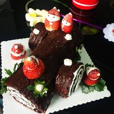 圣诞树桩蛋糕