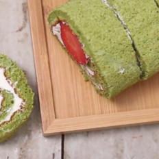 绿茶草莓蛋糕卷