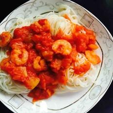 番茄虾仁拌面