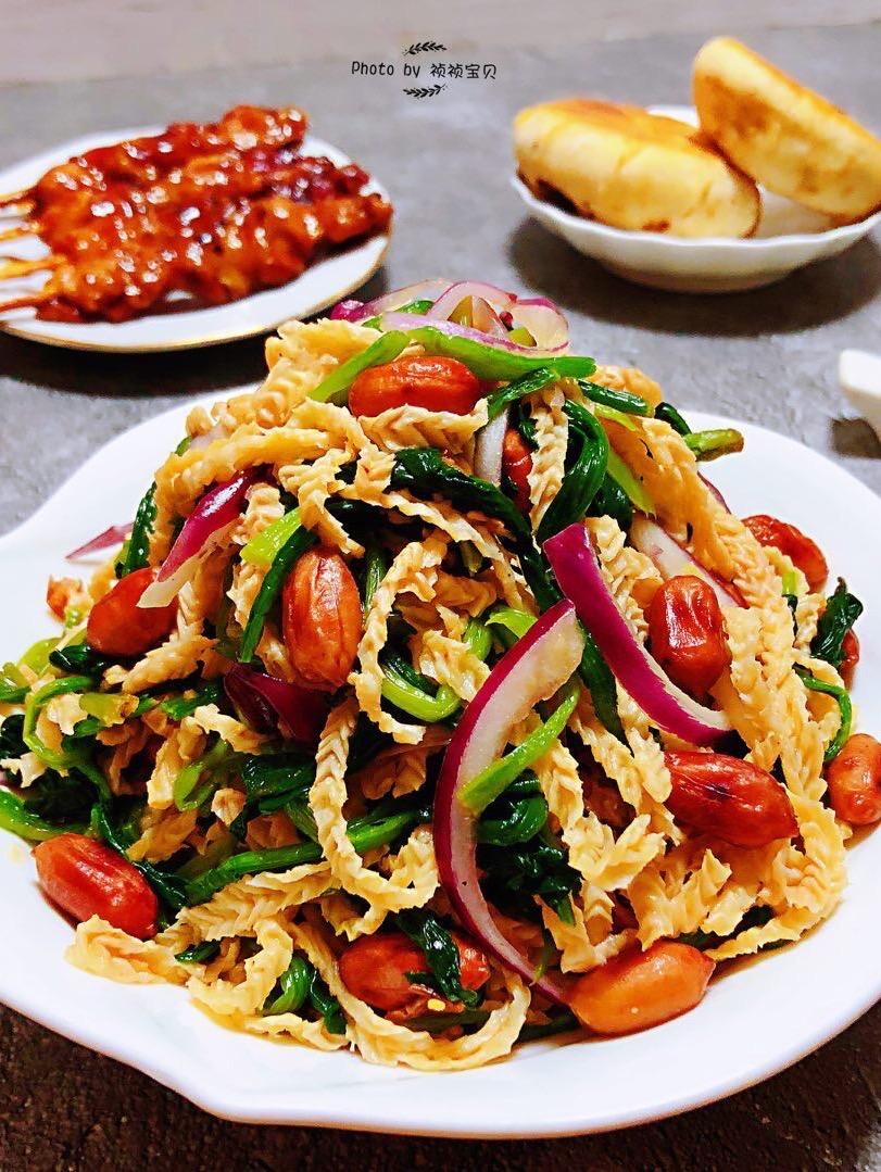 菠菜花生米洋葱拌羊肚丝
