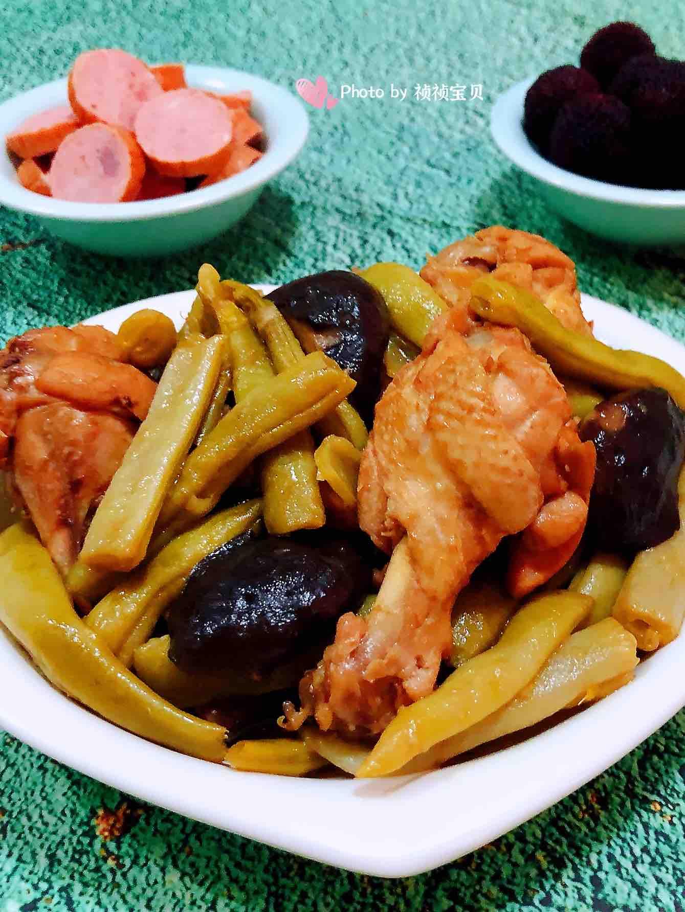 豆角焖香菇鸡翅根的做法