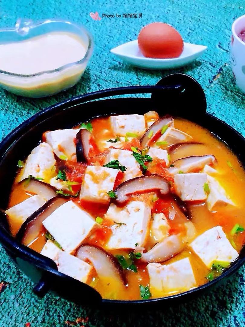 西红柿香菇豆腐煲的做法