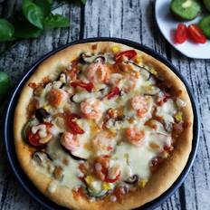 培根鲜虾披萨