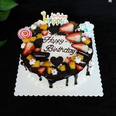 巧克力半淋面生日蛋糕