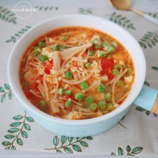 豌豆金针菇蛋花汤