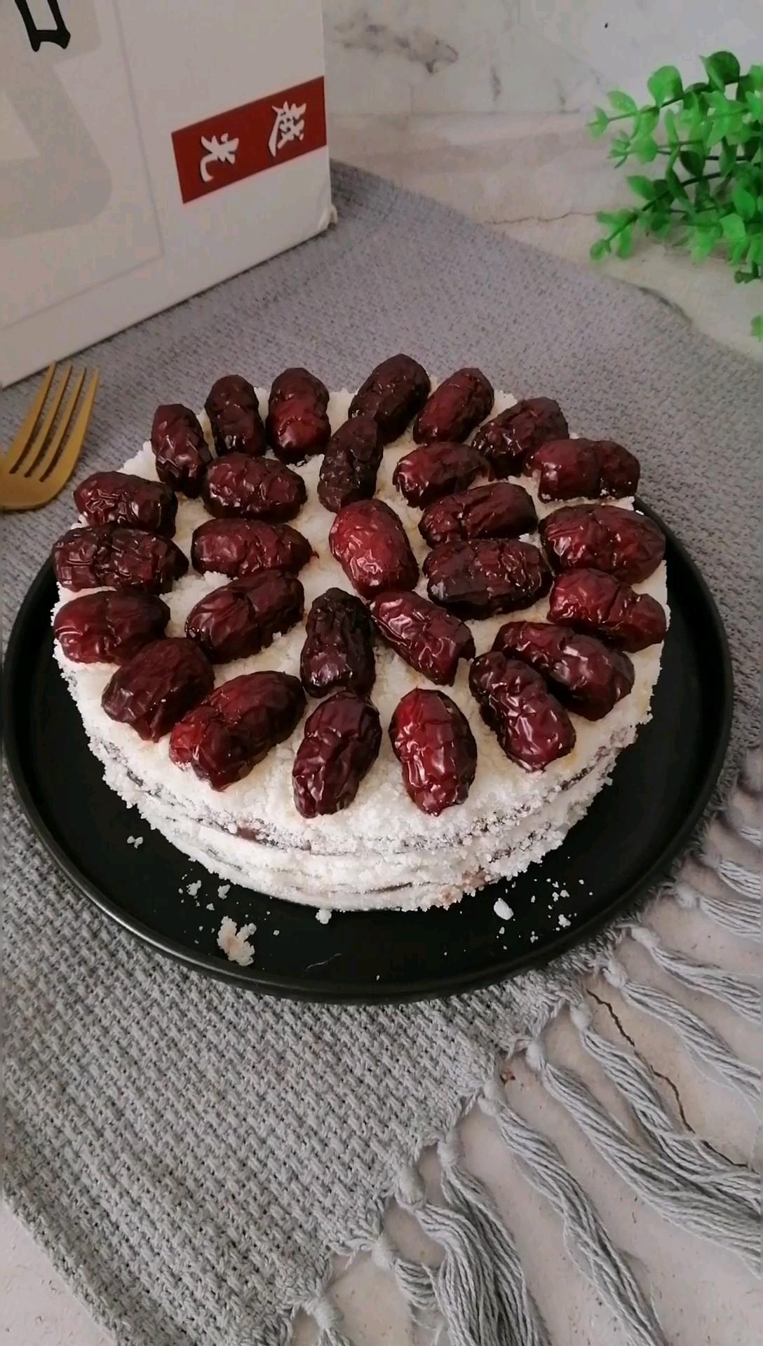 豆沙红枣米糕