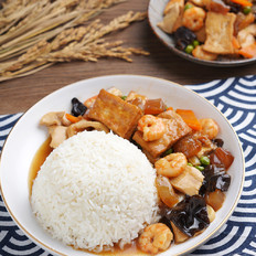 鲜香美味,各种食材吃着有滋有味 ——八珍豆腐盖浇饭