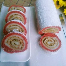 红丝绒麻薯蛋糕卷