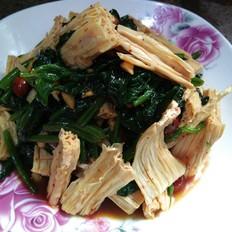 凉拌腐竹菠菜