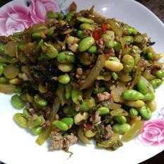 酸菜肉末炒毛豆