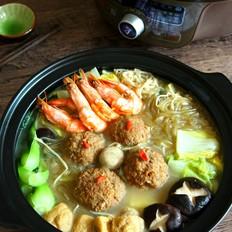 骨汤丸子鲜虾煲