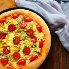 腊肠肉松披萨的做法