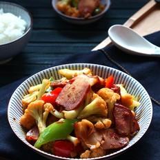 孜然腊肉炒菜花