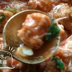 茄子金针菇肉丸煲