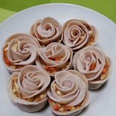 粉红色的玫瑰花饺子
