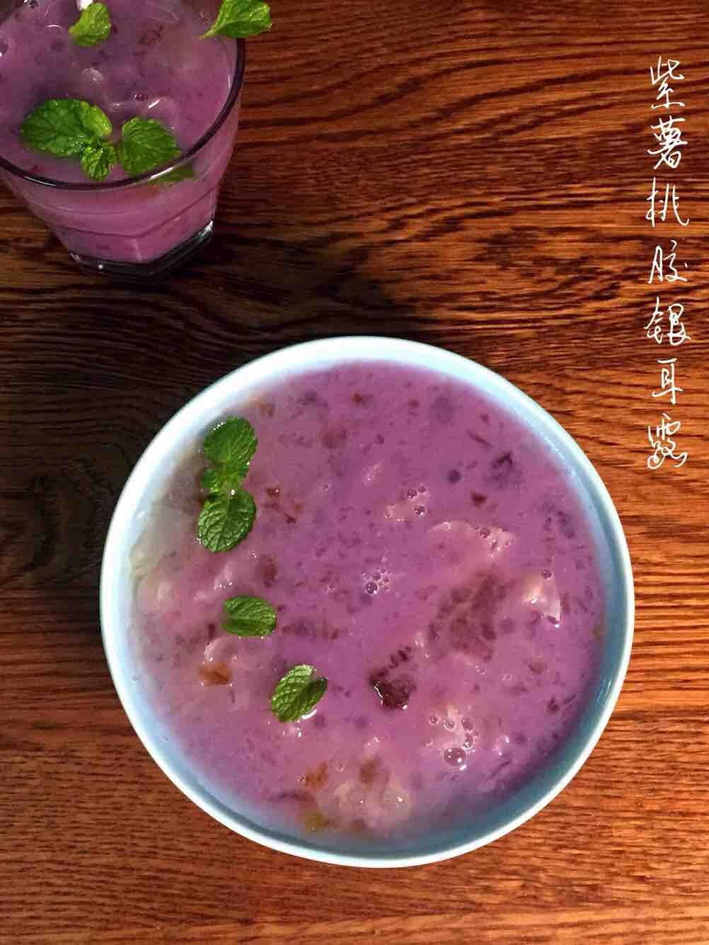 美容养颜润肺——紫薯桃胶银耳露