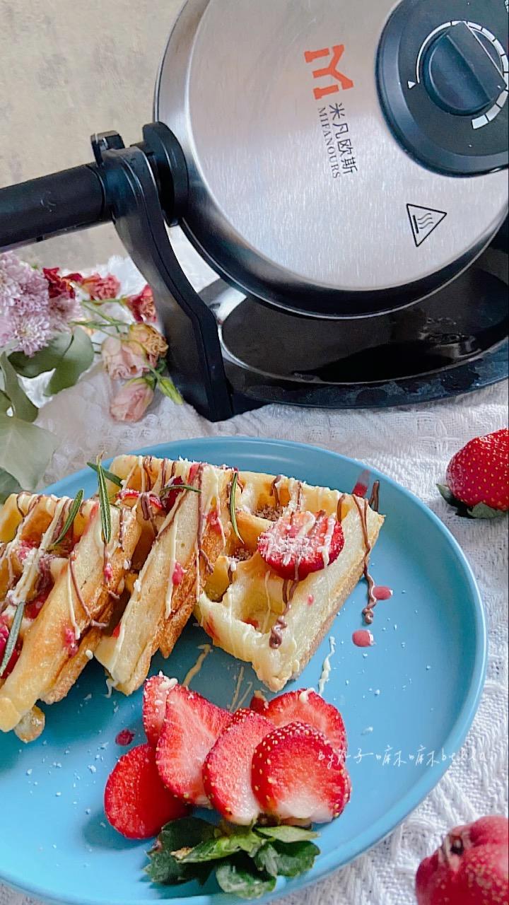 高颜值又美味名媛同款下午茶——麦香麻薯华夫饼(泡打粉版)