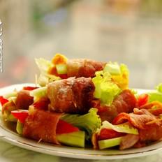 烤肉蛋菜卷